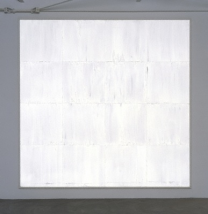 Mary Corse, Untitled (White Light Grid Series‑V), 1969  Glass microspheres in acrylic on canvas, 108 x 108 in.,  Andrea Nasher Collection